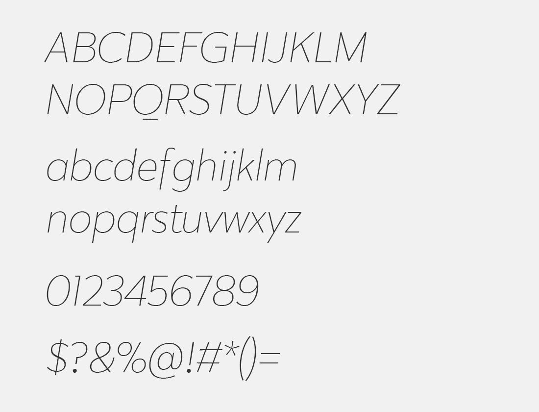 2 Karu extra light italic font