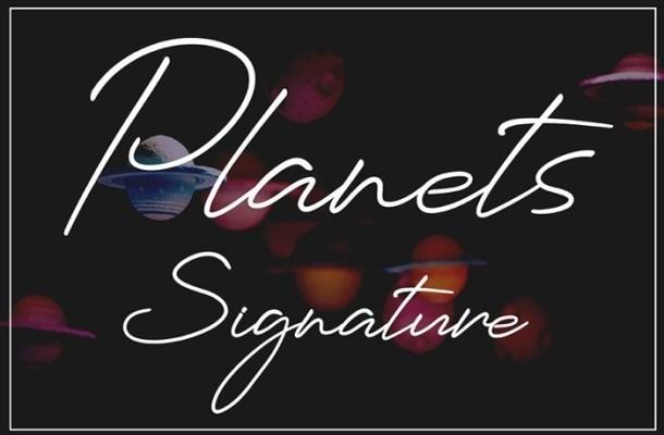 Planets Signature Font