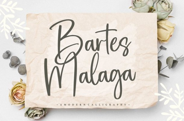 Bartes Malaga Modern Handwritten Font
