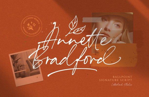 Annette Bradford Ballpoint Signature Script Font