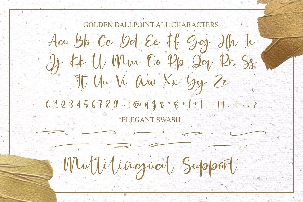 Golden Ballpoint Handwritten Script Font-4