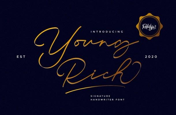 Young Rich Signature Handwritten Font