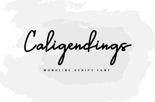 Caligendings Monoline Script Font