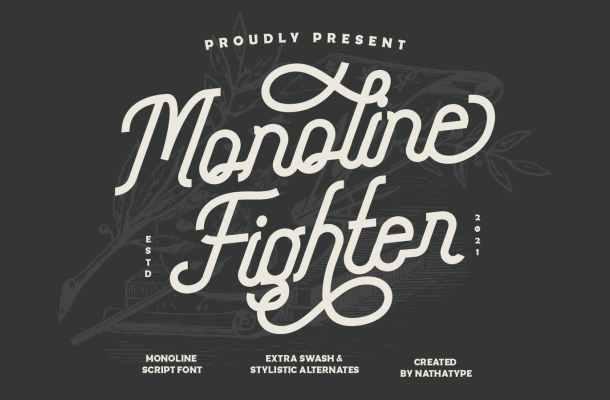 Monoline Fighter Font