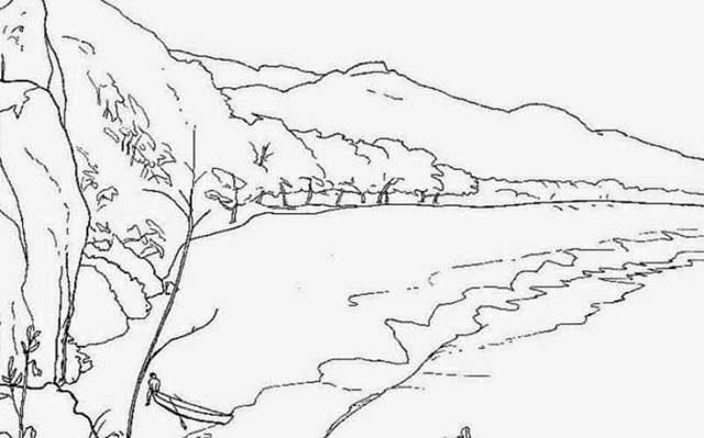 100 Gambar Sketsa Pemandangan Alam Pantai Gunung Desa Free Coloring