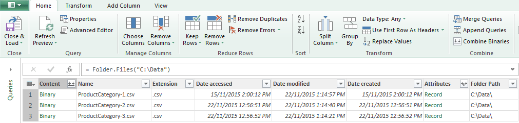 Load multiple files in the same folder with power query