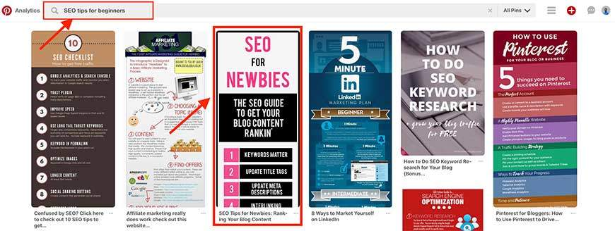SEO tips for beginners Pinterest keyword search