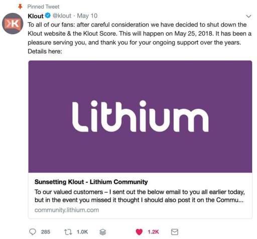 klout shut down official announcement tweet