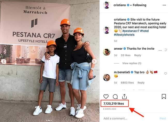 Cristiano Ronaldo popular Instagram influencer