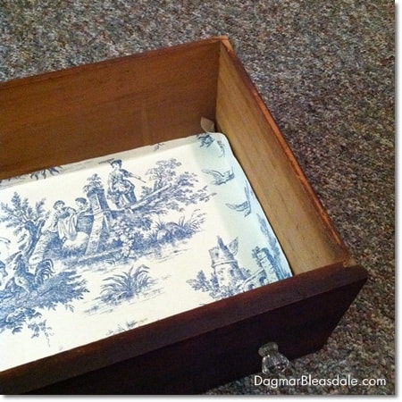 DIY Dresser Makeover with Waverly Toile Wallpaper