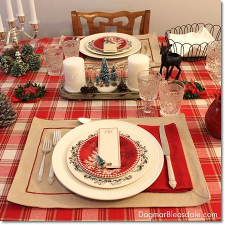 cottage chic Christmas table setting