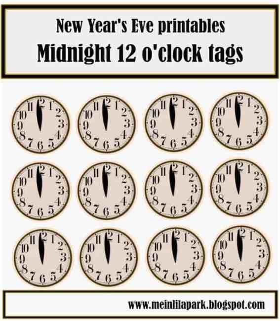 New Year's Eve clock free printables