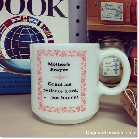 Wordless Wednesday: mother's prayer on a milkglass cup