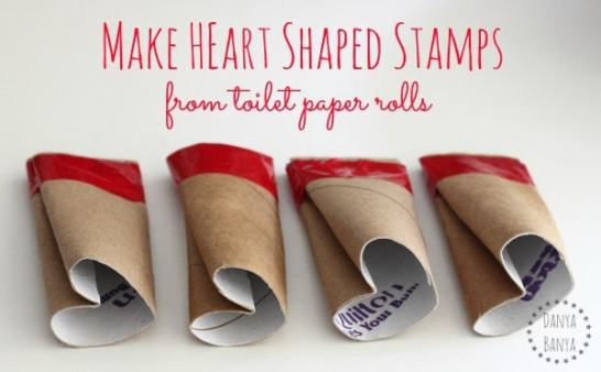 heart-shaped stamp out of toilet paper