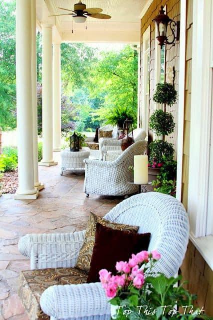 porch decor idea, white rattan furniture