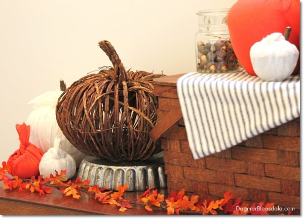 fall decor with DIY fabric pumpkins