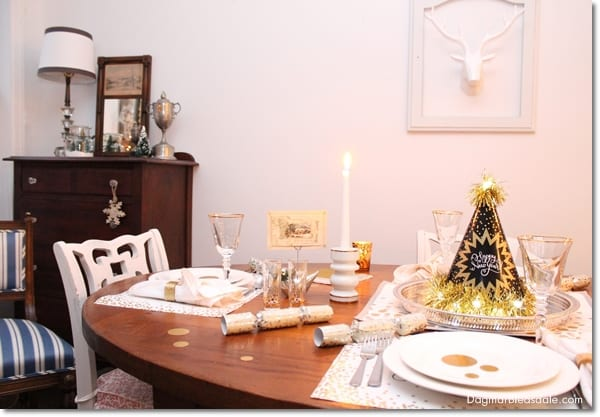 frugal New Year's Eve tablescape, DagmarBleasdale.com