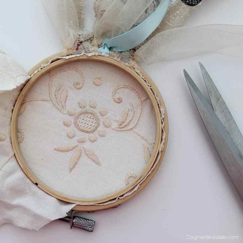 DIY dreamcatcher with lace, embroidery hoop, and ribbons, DagmarBleasdale.com