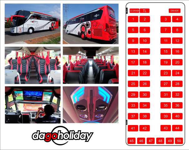 bus pariwisata dago holiday shd/hdd 50 seat
