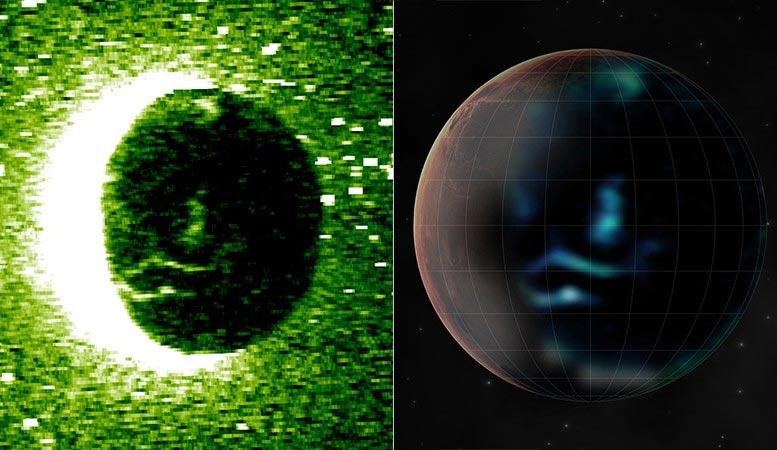 Las imágenes tomadas por el espectrómetro a bordo de Hope (panel izquierdo) y la impresión de un artista (derecha) muestran auroras discretas en el lado nocturno de Marte. Crédito: Cortesía de Emirates Mars Mission