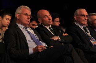 Profumo Presidente di Banca Mps insieme a Riffeser e Giuseppe Guzzetti il Presidente Acri la casi tutte le Fondazioni Bancarie Italiane