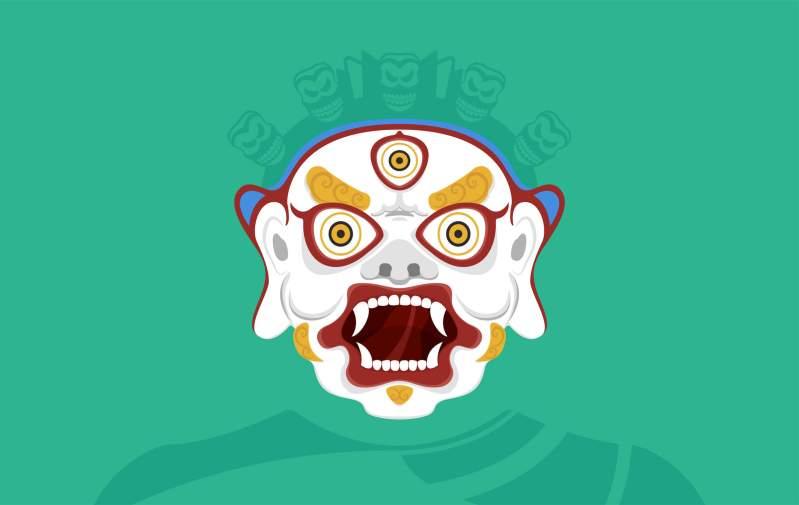 Illustrazione maschera Tsoglen Na Cham Dances