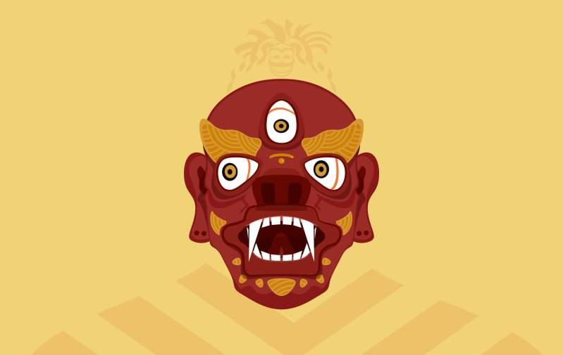 Illustrazione maschera tradizionale buddista