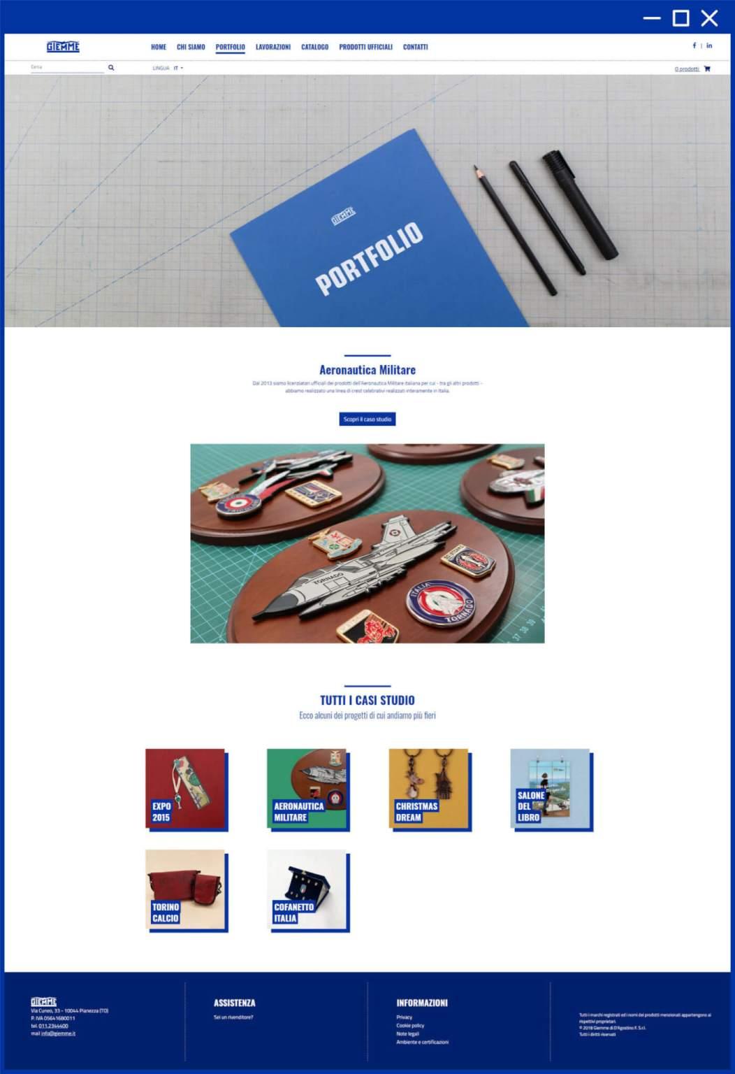 Pagina portfolio clienti sito web Giemme