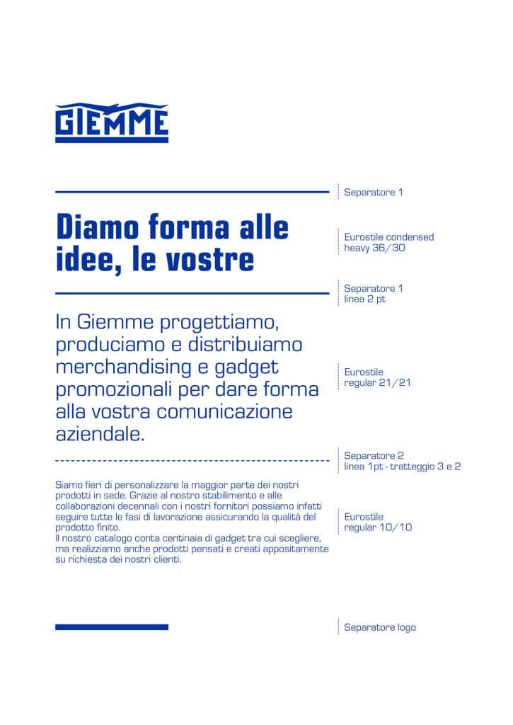 Style guide tipografia Giemme