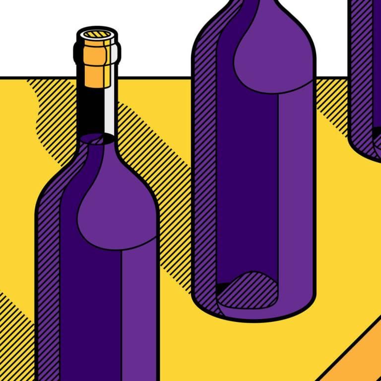 Illustrazione di alcune bottiglie di vino