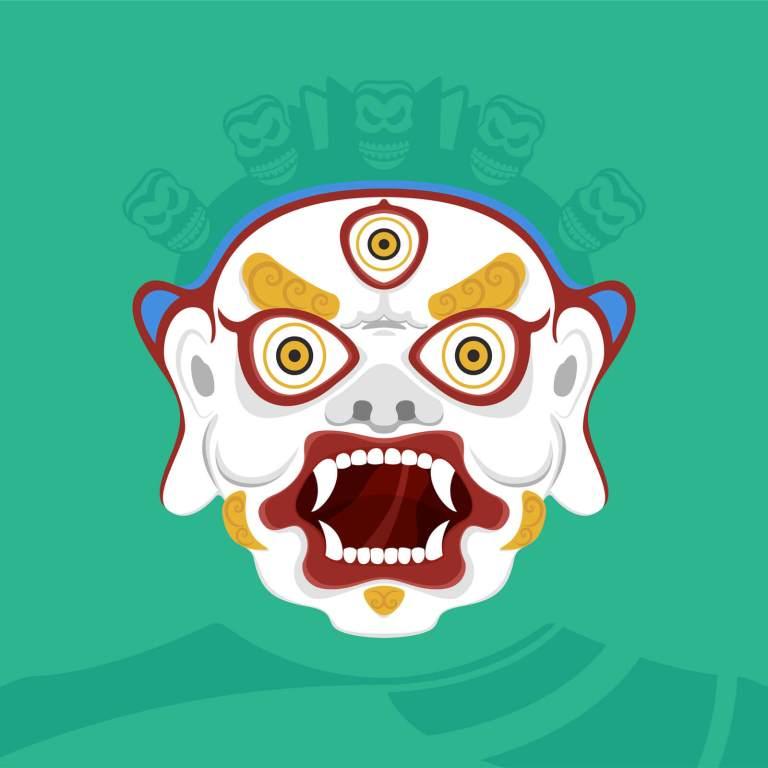 Illustrazione maschera buddista indiana - Divinità furiosa