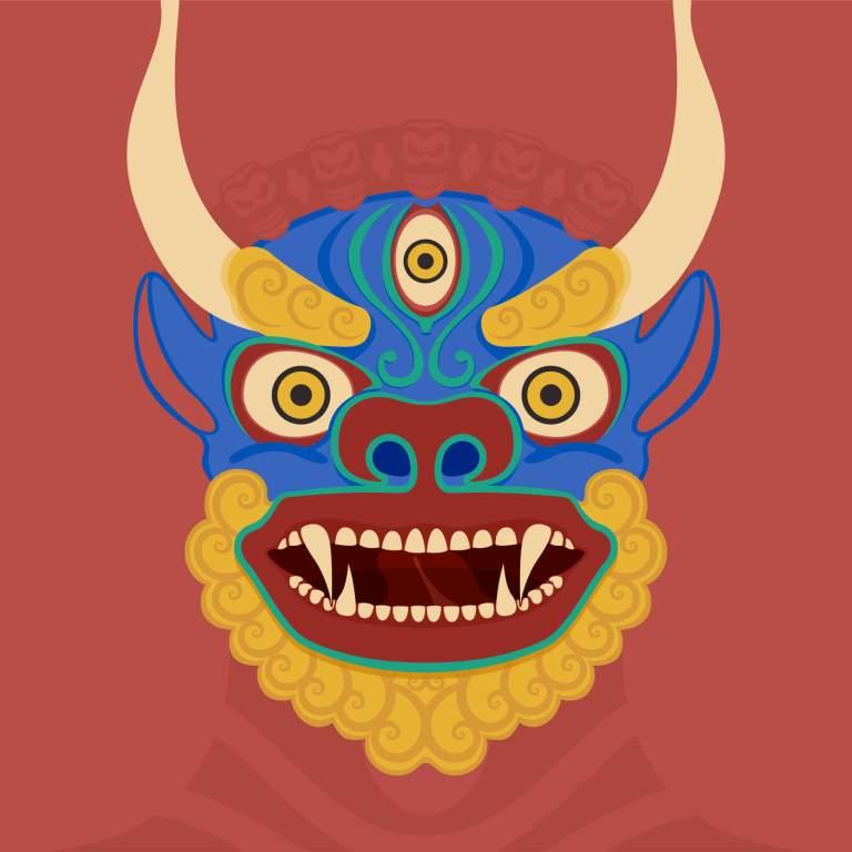 Illustrazione maschera buddista indiana - Yama