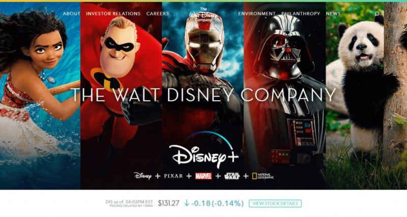 Il sito web della Walt Disney Company