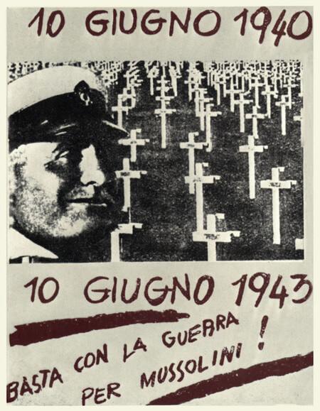 Volantino clandestino 1943 - Basta con la guerra per Mussolini