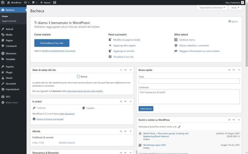Vista base dashboard WordPress