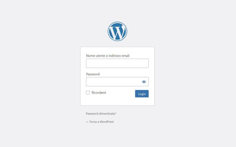 Pagina di login WordPress