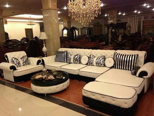 Salon moderne en noir et blanc laqu  Djibouti