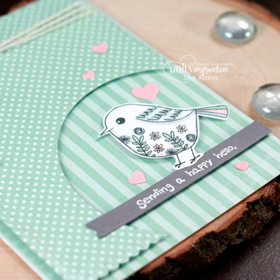 A fun handmade card idea with a cutout corner. A great way to highlight your sentiment and stamped images for a sweet hello. Lots of die cutting and all stamped images are from Unity Stamp Company - Sometimes I Wonder. #handmade #card #idea #diecutting #unitystampco #copics
