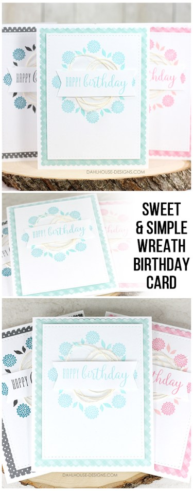 Sharing some tips on how to create this sweet and simple birthday card using the Gina K. wreath builder template. Blog tutorial and quick video included. The images are from the Circle of Friendship and Abundant Blessings Unity Stamp Company stamp sets. More inspiration on dahlhouse-designs.com #cardmaking #stamping #ideas #diy #howto #tutorial #video #handmade #dahlhousedesigns #unitystampco #diecutting #birthday #easy #ginak #wreath #misti