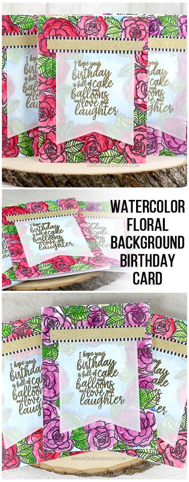 Sharing a card idea for this watercolor background, vellum and washi tape birthday card with a blog tutorial and quick video. Just one little trick to make watercoloring easier. The images are from the Winsomeness Border Background & Hugs, Kisses & Birthday wishes Unity Stamp Company stamp set. More inspiration on dahlhouse-designs.com.  #cardmaking #cards #stamping #dahlhousedesigns #unitystampco #ideas #diy #howto #tutorial #video #handmadecards #watercolor #embossing #birthday #gansai #washi