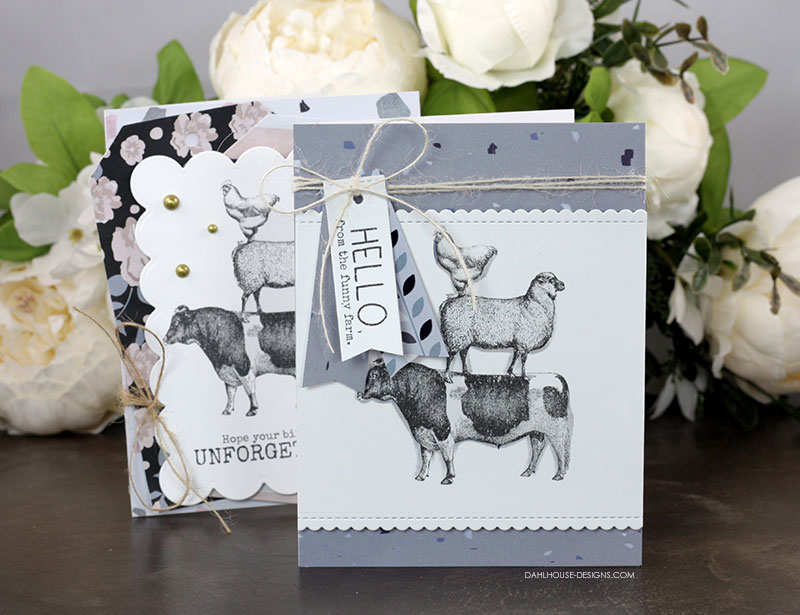 Sharing a quick & easy card idea with a tutorial and quick video. The images are from the Funny Farm Unity Stamp Company stamp set. More inspiration on dahlhouse-designs.com.   #cardmaking #cardmaker #cards #stamping #dahlhousedesigns #unitystampco #handmadecards #diecutting #farmanimals