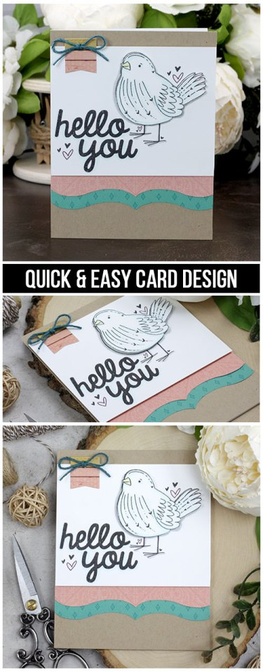Sharing a quick and easy idea for a hello card with a tutorial and quick video. This little bird is colored with Copics and I'm using some fun pre-made Kaisercraft patterned paper die cuts. The images are from the Bird's the Word Unity Stamp Company stamp set. More inspiration on dahlhouse-designs.com.   #cardmaking #cardmaker #cards #stamping #dahlhousedesigns #unitystampco #handmadecards #hello #birdcards #copics #kaisercraft #diecutting
