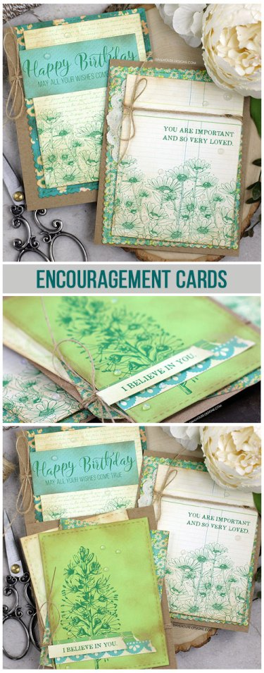 Need cards for encouragement or support. I'm sharing 2 different cards using 3 stamps sets plus a birthday card because who doesn't always need one of those. The images are from the Don't Give Up, Feelings Matter and Good Things with Wings Unity Stamp Company stamp sets. More inspiration on dahlhouse-designs.com.   #cardmaking #cardmaker #cards #stamping #dahlhousedesigns #unitystampco #handmadecards #diecutting #encouragement #support #feelingsmatter #birthday #distressink #blending