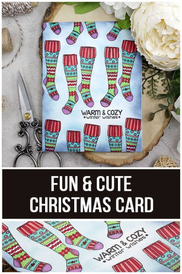 Sharing a card idea for a fun holiday Christmas card with a tutorial and quick video. Who doesn't love some fun and cozy socks for Christmas? I'm doing some repeat stamping, Copic coloring and Distress Ink blending. The images are from the Warm & Cozy Unity Stamp Company stamp set. More inspiration on dahlhouse-designs.com.   #cardmaking #cardmaker #cards #stamping #dahlhousedesigns #unitystampco #handmadecards #diecutting #diy #carddesign #cardcraft #holidaycard #christmascard #blending #distressinks #copics #coloring #markers