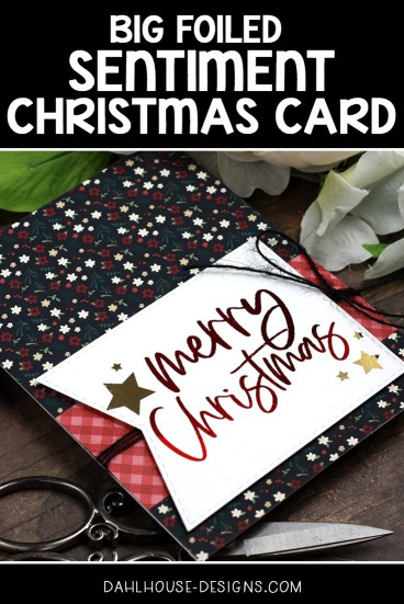 Sharing a simple Christmas card idea with a tutorial & quick video. The images are from the Heart of Christmas Unity Stamp Company stamp set. More inspiration on dahlhouse-designs.com. #cardmaking #cardmaker #cardmakingideas #cardinspiration #simplecards #stamping #dahlhousedesigns #unitystampco #handmadecards #diecutting #carddesign #cardtechnique #christmascard #decofoil #thermoweb