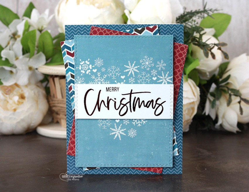 Sharing a simple Christmas card idea with a tutorial & quick video. The images are from the Heart of Christmas Unity Stamp Company stamp set. More inspiration on dahlhouse-designs.com. #cardmaking #cardmaker #cardmakingideas #cardinspiration #simplecards #stamping #dahlhousedesigns #unitystampco #handmadecards #diecutting #carddesign #cardtechnique #christmascard #minc #decofoil #thermoweb #echopark