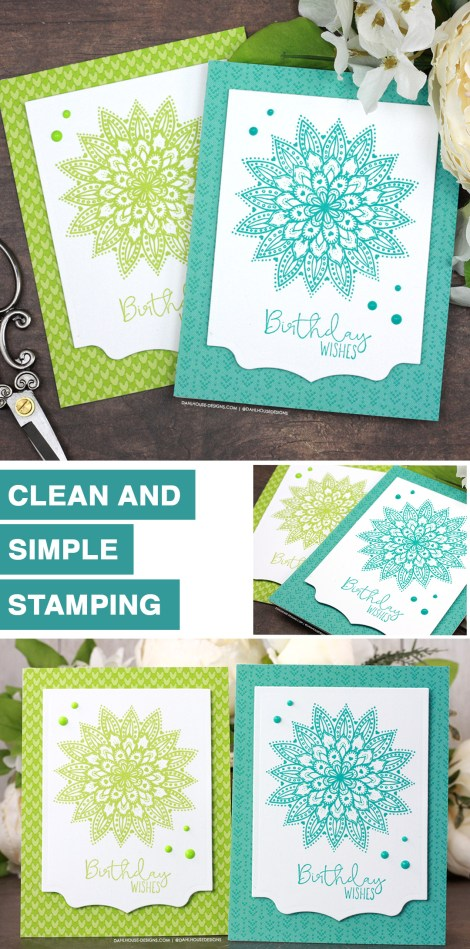 Sharing a simple card idea for pretty monochromatic stamping with a tutorial & quick video. The images are from the Doily Hugs and Wishes Unity Stamp Company stamp set. More inspiration on dahlhouse-designs.com. #cardmakingideas #cardmaker #cardmakingideas #cardinspiration #simplecards #rubberstamps #dahlhousedesigns #unitystampco #handmadecards #carddesign #craftersgonnacraft #greetingcards #papercrafting #papercrafts