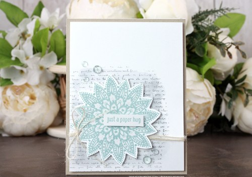 Sharing a simple card idea for a clean and simple card with a tutorial & quick video. The images are from the Doily Hugs and Wishes Unity Stamp Company stamp set. More inspiration on dahlhouse-designs.com. #cardmakingideas #cardmaker #cardmakingideas #cardinspiration #simplecards #rubberstamps #dahlhousedesigns #unitystampco #handmadecards #carddesign #craftersgonnacraft #papercrafting #papercrafts #distressink #watercolor #greetingcards