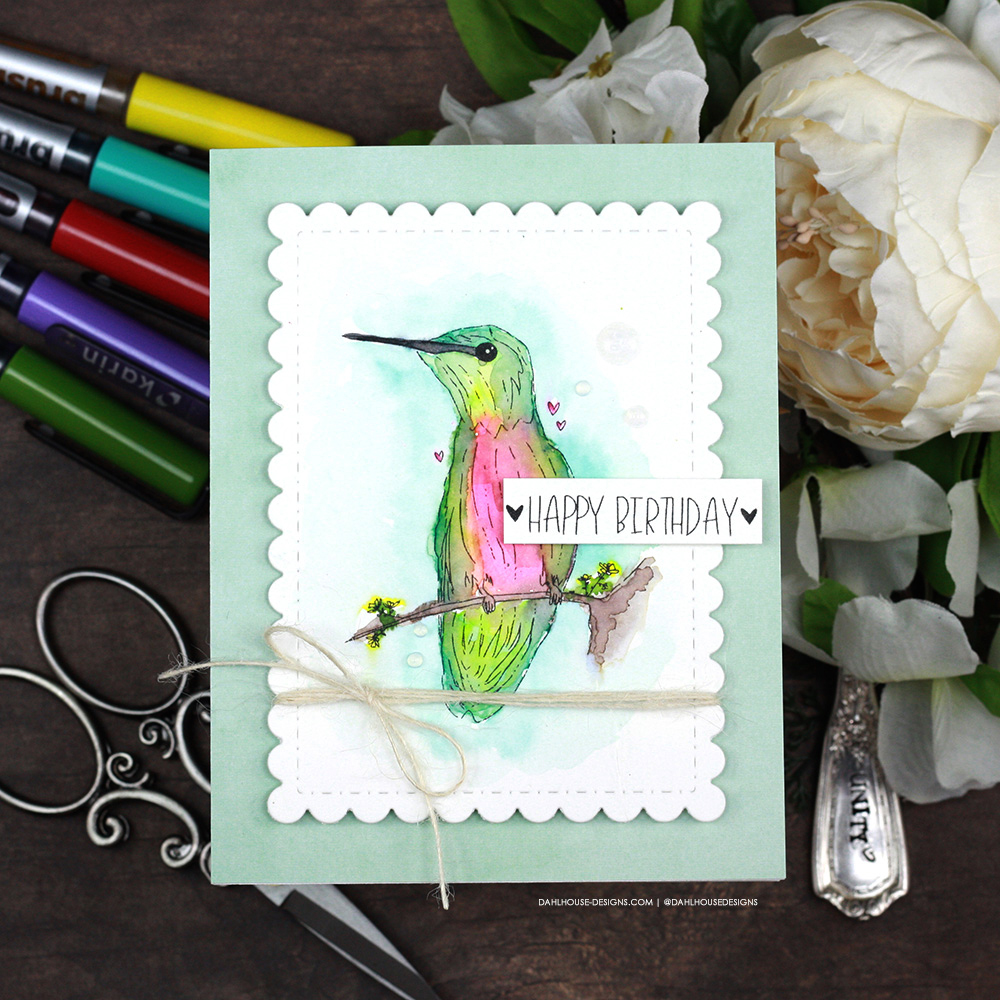 Sharing a couple simple birthday card idea using Karin Brushmarker Pro markers for watercoloring with a tutorial & quick video. The images are from the June 2021 Unity Stamp Company sentiment stamp set. More inspiration on dahlhouse-designs.com. #ad #cardmaker #cardmakingideas #cardinspiration #simplecards #rubberstamps #dahlhousedesigns #unitystampco #handmadecards #carddesign #craftersgonnacraft #papercrafting #papercrafts #birthdaycard