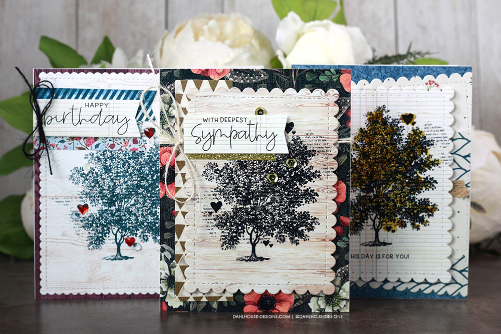 Sharing three simple card ideas for a pretty card set using patterned paper with a tutorial & quick video. The images are from the Tree of Love Unity Stamp Company stamp set. More inspiration on dahlhouse-designs.com. #ad #cardmaker #cardmakingideas #cardinspiration #simplecards #rubberstamps #dahlhousedesigns #unitystampco #handmadecards #carddesign #craftersgonnacraft #papercrafting #papercrafts #birthdaycards #sympathy #cardlayouts #cardsofinstagram